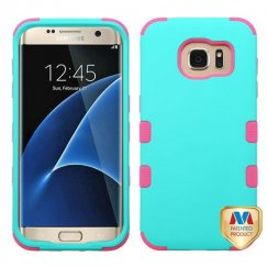 Samsung Galaxy S7 Edge Rubberized Teal Green/Electric Pink Hybrid Case