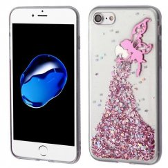Apple iPhone 8 Pink Fairy Glitter (T-Clear) Krystal Gel Series Candy Skin Cover