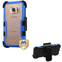 Samsung Galaxy S7 Natural Dark Blue Frame PC Back/Black Vivid Hybrid Case with Black Horizontal Holster
