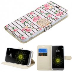LG G5 Pink Fresh Roses Diamante Wallet with Diamante Belt