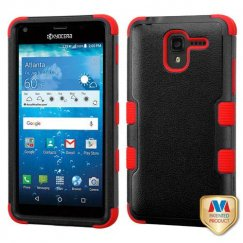 Kyocera Hydro Reach / Hydro View Natural Black/Red Hybrid Case