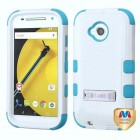 Motorola Moto E 2nd Gen Natural Ivory White/Tropical Teal Hybrid Phone Protector Cover (with Stand)