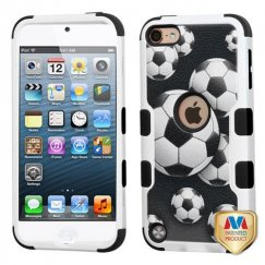 Apple iPod Touch (6th Generation) Soccer Ball Collage/Black Hybrid Case