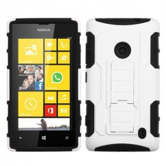 Nokia Lumia 520 White/Black Car Armor Stand Case - Rubberized