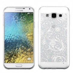 Samsung Galaxy E5 White four-leaf Clover Candy Skin Cover