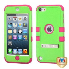 Apple iPod Touch (5th Generation) Natural Pearl Green/Electric Pink Hybrid Case with Stand