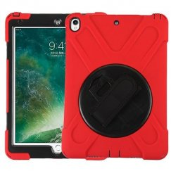 AppleiPad iPad Pro 10.5 Black/Red Rotatable Stand Protector Cover (with Wristband)