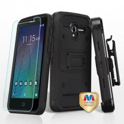 Alcatel Stellar / Tru 5065 Black/Black 3-in-1 Case Combo with Black Holster with Tempered Glass Screen Protector