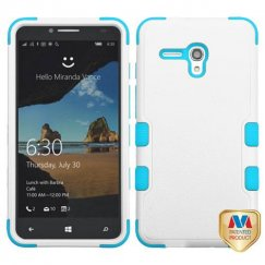 Alcatel One Touch Fierce XL Natural Ivory White/Tropical Teal Hybrid Case