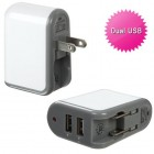 White Travel Charger Adapter with Dual USB output (2.1 Amps)