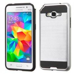 Samsung Galaxy Grand Prime Silver/Black Brushed Hybrid Case