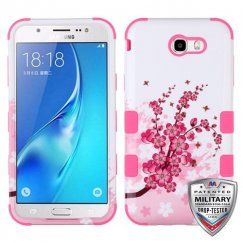 Samsung Galaxy J7 Spring Flowers/Electric Pink Hybrid Case Military Grade