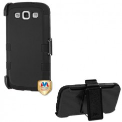 Samsung Galaxy S3 Rubberized Black/Black Hybrid Case with Black Holster