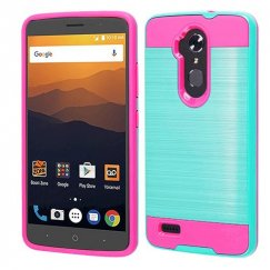 ZTE Blade Max 3 / Max XL Teal Green/Hot Pink Brushed Hybrid Case