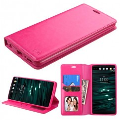 LG V10 Hot Pink Wallet with Tray