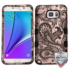 Samsung Galaxy Note 5 Phoenix Flower (2D Rose Gold)/Black Hybrid Case Military Grade