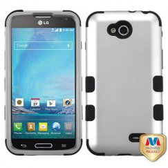 LG Optimus L90 Rubberized Space Silver/Black Hybrid Case