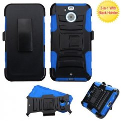 HTC Bolt Black/ Blue Advanced Armor Stand Case Combo with Black Holster