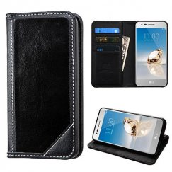 LG K8 / Phoenix 3 Black Genuine Leather Wallet