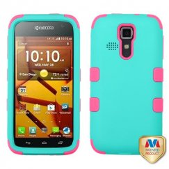 Kyocera Hydro Life / Hydro Icon Rubberized Teal Green/Electric Pink Hybrid Case
