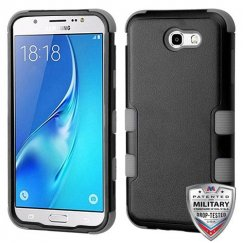 Samsung Galaxy J7 Natural Black/Iron Gray Hybrid Case Military Grade
