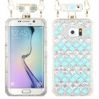 Samsung Galaxy S6 Edge Blue and White Crystals Diamante Perfume Bottle Candy Skin Cover with Chain