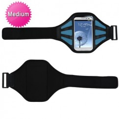 Vertical Pouch Universal Black Sport Armband (with Baby Blue Mess Ports)