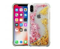 Apple iPhone X Transparent S-shaped Pink/Gold Quicksand Glitter Hybrid Protector Cover