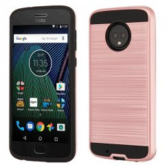 Motorola Moto G6 Rose Gold/Black Brushed Hybrid Case