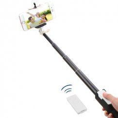 White Selfie Stick (with Black Mobile Monopod)(for iOS & Android)