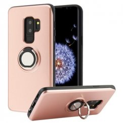 Samsung Galaxy S9 Plus Rose Gold/Black Multifunction Wallet Hybrid Protector Cover (with Mirror + Rotatable Ring Stand)