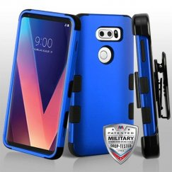 LG V30 Titanium Dark Blue/Black Hybrid Case Military Grade with Black Horizontal Holster