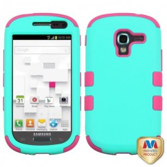 Samsung Galaxy Exhibit Rubberized Teal Green/Electric Pink Hybrid Case