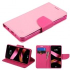 LG X Style / Tribute HD Pink Pattern/Hot Pink Liner Wallet with Card Slot