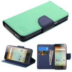 Alcatel One Touch Elevate Teal Green Pattern/Dark Blue Liner wallet with Card Slot
