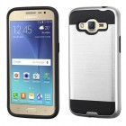 Samsung Galaxy J2 Silver/Black Brushed Hybrid Protector Cover