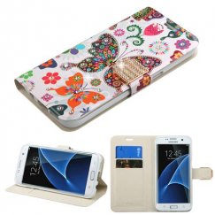 Samsung Galaxy S7 Edge Butterfly Wonderland Diamante Wallet with Diamante Belt