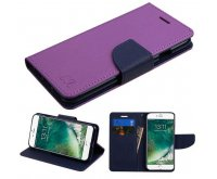 Apple iPhone 7 Purple Pattern/Dark Blue Liner MyJacket wallet (with card slot)(84C) -WP