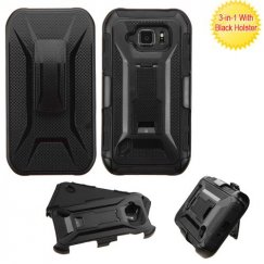 Samsung Galaxy S6 Active Black/Black Advanced Armor Stand Case with Black Holster
