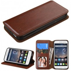 Alcatel One Touch Pop Astro Brown Wallet with Tray