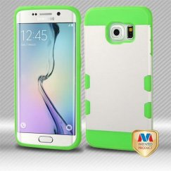 Samsung Galaxy S6 Edge Rubberized Pearl White/Electric Green Hybrid Case