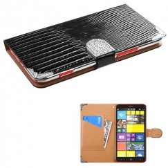 Nokia Lumia 1320 Black Crocodile Skin Wallet with Metal Diamonds Buckle & Silver Plating Tray