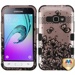 Samsung Galaxy J1 Black Lace Flowers 2D Rose Gold/Black Hybrid Case