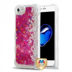 Hot Pink Flowing Sparkles Quicksand Glitter Lite Hybrid Protector Cover