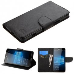 Nokia Lumia 950 Black Pattern/Black Liner wallet with Card Slot