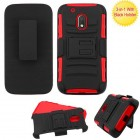 Motorola Moto G4 Play Black/Red Advanced Armor Stand Protector Cover (With Black Holster)