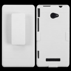 HTC Windows Phone 8x Rubberized Solid Ivory White Hybrid Holster