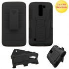 LG K7 Black/Black Advanced Armor Stand Protector Cover (With Black Holster)