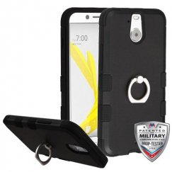 HTC Bolt Rubberized Black/Black Hybrid Case - Military Grade with Metal Ring Stand
