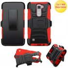 LG K7 Black/Red Advanced Armor Stand Protector Cover (With Black Holster)